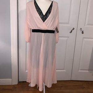 NY&Co Black Lace Dress with Pink Overlay